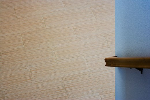 Wood Bannister and Contemporary Hardwood Flooring : Stock Photo