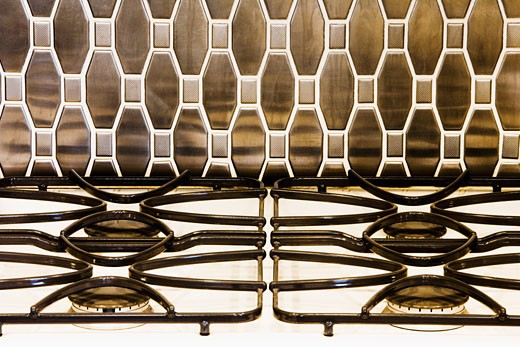 Stock Photo: 1806R-3542 Contemporary Tile Backsplash and White Stove Top