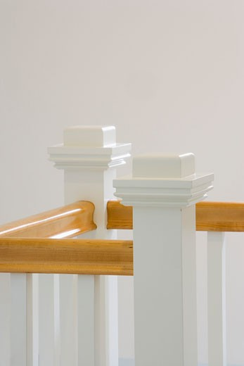 Wood Bannister and White Wood Railing : Stock Photo