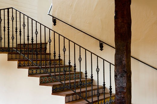 Spanish Style Stairway with Wrought Iron Bannister : Stock Photo
