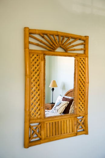 Mirror with Wood Trim : Stock Photo