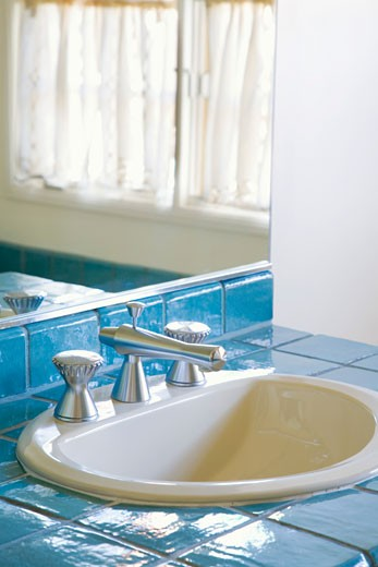 Bathroom with Blue Tile : Stock Photo