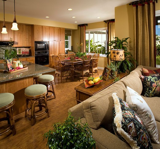 Beach Style Living Room, Dining Room, and Kitchen : Stock Photo