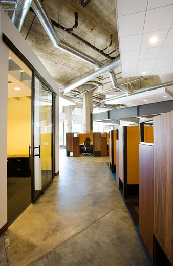 Interior of a modern office space with cubicles : Stock Photo