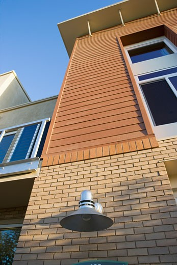 Exterior of contemporary loft style condo low angle : Stock Photo