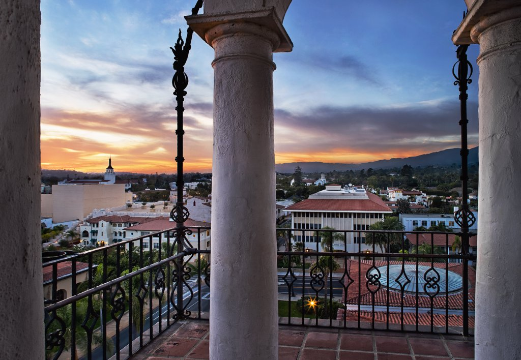 Sunset view from balcony overlooking Santa Barbara : Stock Photo