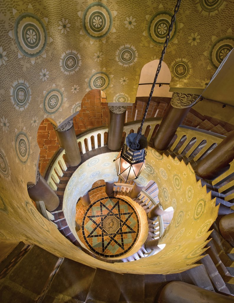 Stock Photo: 1806R-8044 View down grand spiral staircase