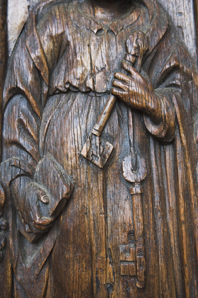 Stock Photo: 1806R-8347 Detail hand carved wooden door