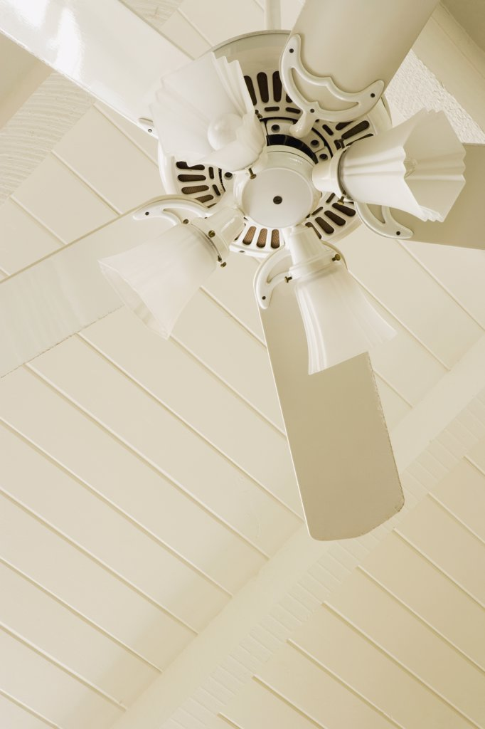 Stock Photo: 1806R-8735 Detail white ceiling fan and light fixture