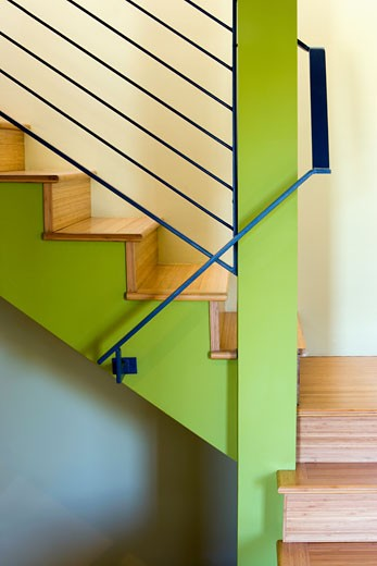 Detail of Modern Staircase with Green Accents : Stock Photo