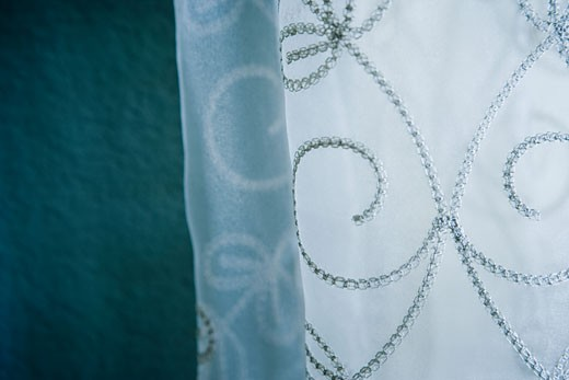 Detail embroidered sheer curtains : Stock Photo