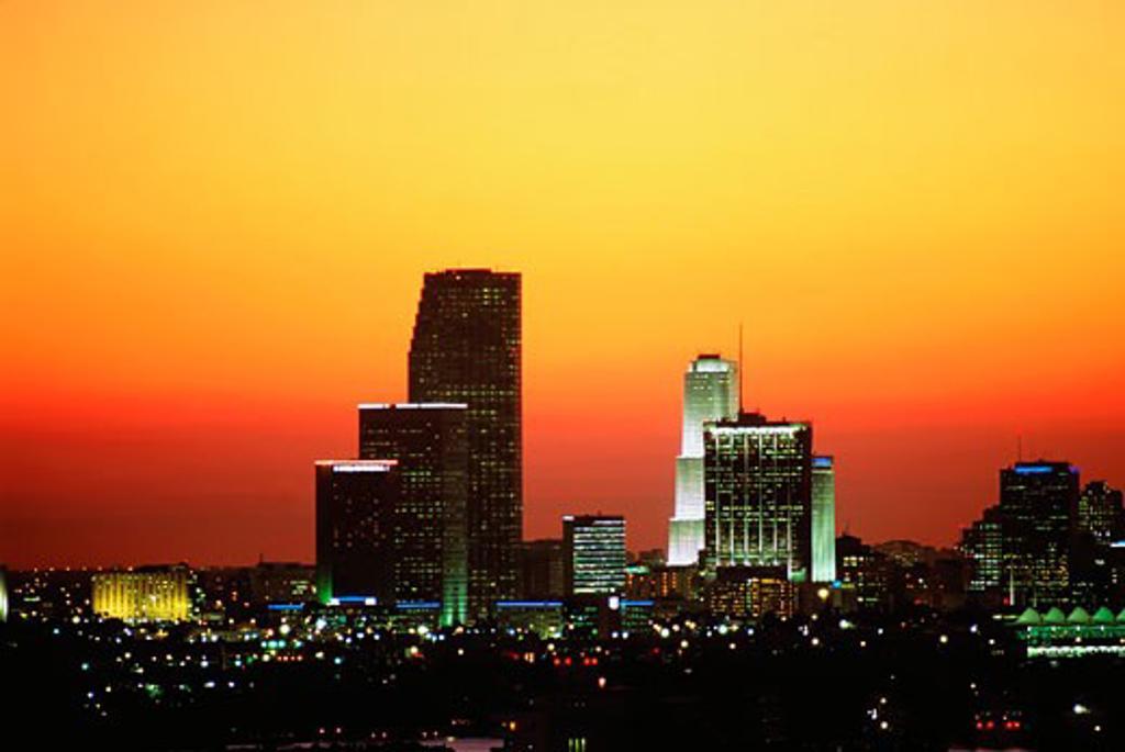 Miami skyline at sunset : Stock Photo