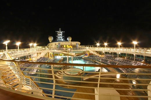 Stock Photo: 1807-163 View of a cruise ship lit up at night