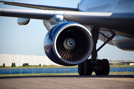 Jet engine of an airplane : Stock Photo