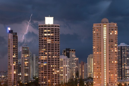 Thunderstorm in the city : Stock Photo