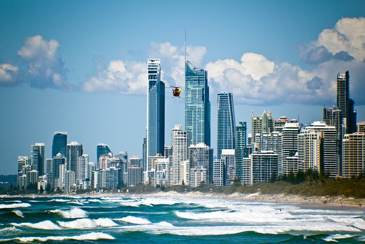 Stock Photo: 1807-377 City skylines at the waterfront, Goldcoast Beach, Queensland, Australia