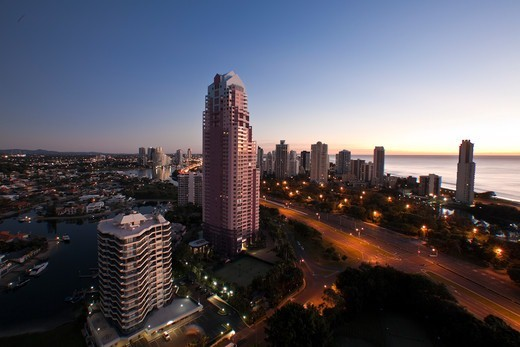 Australia, Queensland, Gold Coast at dusk : Stock Photo
