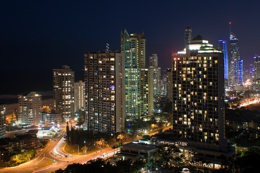 Stock Photo: 1807-423 Australia, Queensland, Gold Coast, Skyline at night