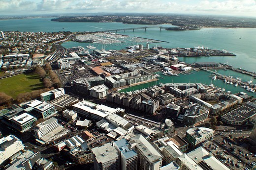 Stock Photo: 1807-431 New Zealand, Auckland, Aerial view of city and harbour