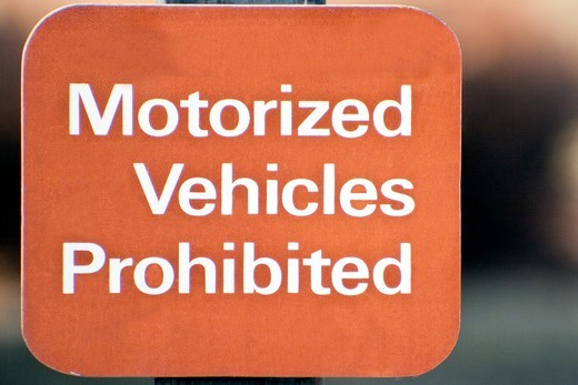 Sign reading Motorised Vehicle Prohibited : Stock Photo