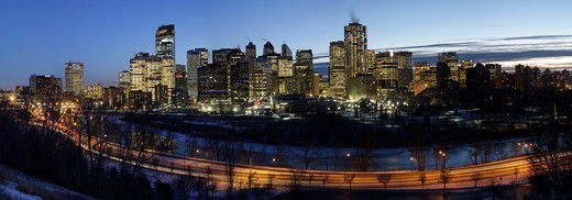 Stock Photo: 1807-446 Canada, Alberta, Calgary, Downtown skyline at dusk