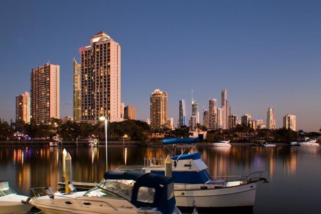 Australia, Gold Coast, Surfer Paradise, City skyline at dusk : Stock Photo
