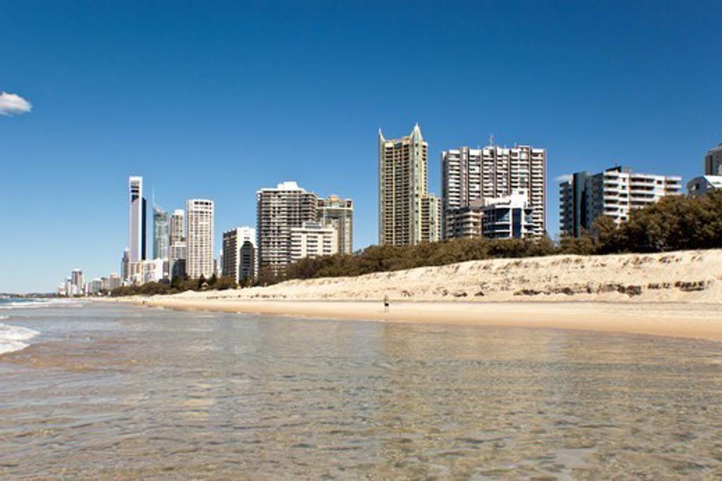 Australia, Gold Coast, Surfers Paradise, City skyline with beach : Stock Photo