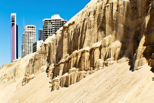 Australia, Gold Coast, Surfers Paradise, Sand erosion on beach : Stock Photo