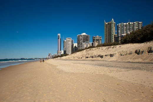 Stock Photo: 1807-462 Australia, Gold Coast, Surfers Paradise, City skyline with beach