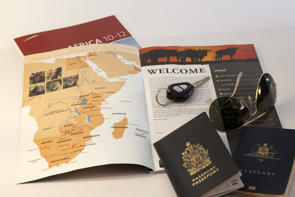 Stock Photo: 1807R-301 Map and car key with two passports