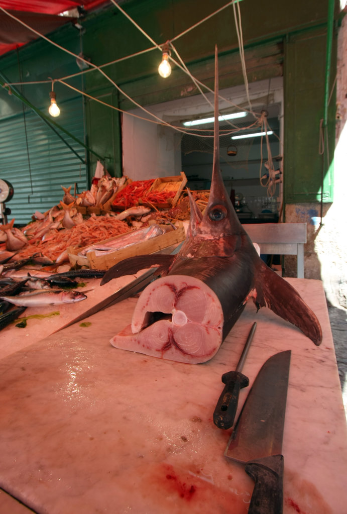Stock Photo: 1807R-307 Fish stand in a market, Greece