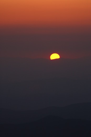 Stock Photo: 1809-10258 Silhouette mountains at sunset from Mount Washington. Located in the White Mountains, New Hampshire USA  Notes:  Mount Washington is famous for the highest wind gust ever measured on earth at 231 miles per hour on April 12, 1934