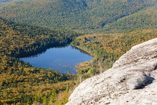 Stock Photo: 1809-10573 Franconia Notch State Park - Lonesome Lake from Hi-Cannon Trail. This trail leads to the summit of Cannon Mountain in the White Mountains, New Hampshire USA