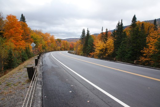 Stock Photo: 1809-10973 Dixville Notch - Route 26 during the autumn months in Dixville, New Hampshire USA