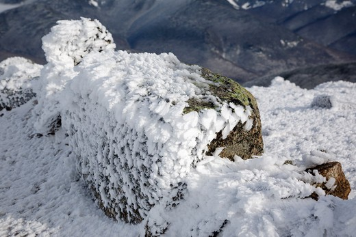 Appalachain Trail - Rime ice on the summit of Mount Lincoln during the winter months in the White Mountains, New Hampshire USA : Stock Photo