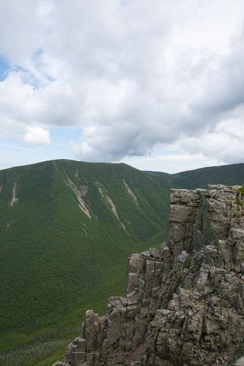 Stock Photo: 1809-13153 Pemigewasset Wilderness - Looking across Hellgate Ravine at West Bond from Bondcliff during the summer months. Located in the White Mountains, New Hampshire USA