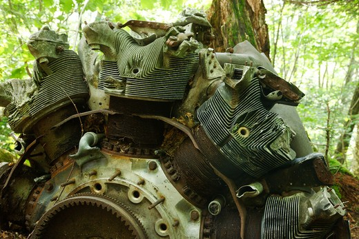 Crash site of B-18 Bomber on Mount Waternomee in Woodstock, New Hampshire USA. Crashed on January 14, 1942. Out of seven crew members, five survived the crash and were able to remove themselves from the wreckage. The remaining two members died when the plane exploded : Stock Photo