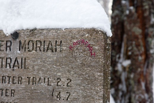 Stock Photo: 1809-14046 Appalachian Trail - graffiti on the Carter Moriah Trail sign in the White Mountains, New Hampshire USA