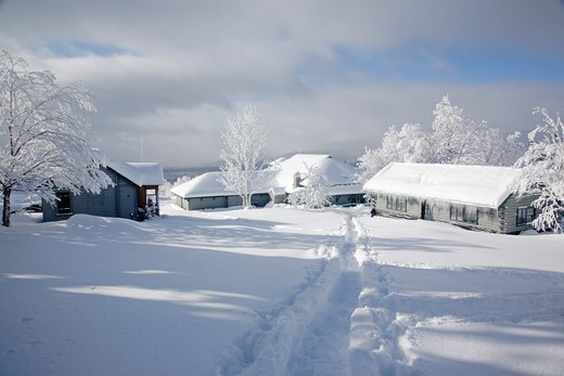 Stock Photo: 1809-14144 Marshfield Station during the winter months in the White Mountains, New Hampshire USA  Notes..Marshfield Station is at the base of the Mount Washington Cog Railway