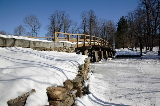 Stock Photo: 1809-14517 Minute Man National Historical Park...Old North Bridge during the winter months. Located in Concord, Massachusetts USA