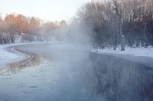Minute Man National Historical Park...Concord River from Old North Bridge during the winter months. Located in Concord, Massachusetts USA : Stock Photo