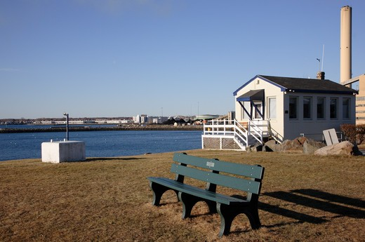 Stock Photo: 1809-14776 Salem Harbor from Winter Island Maritime Park during the winter months. Located in Salem, Massachusetts USA which is part of scenic New England