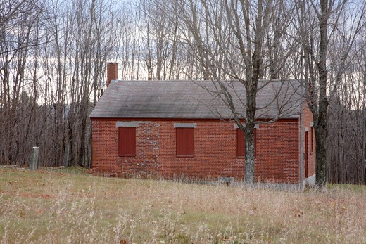 Stock Photo: 1809-14832 Bell Hill Schoolhouse during the autumn months. Located in Otisfield, Maine USA This schoolhouse was built in 1839 and is listed on the National Register of Historic Places