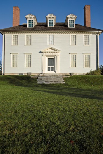 Stock Photo: 1809-14895 Hamilton House during the autumn months....located in South Berwick, Maine USA which is part of scenic New England....This house is a National Historic Landmark