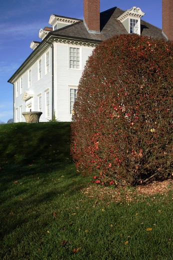 Stock Photo: 1809-14899 Hamilton House during the autumn months....located in South Berwick, Maine USA which is part of scenic New England....This house is a National Historic Landmark