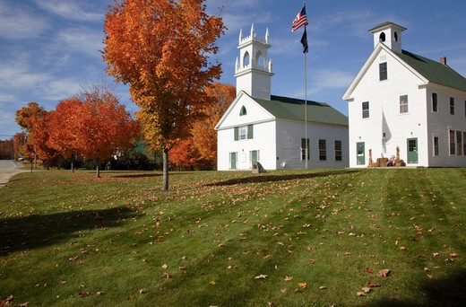 The Congregational Church  & Schoolhouse located Washington, New Hampshire USA  Notes: Washington is the first town incorperated under the name of George Washington plus the meeting house has been in continuous use for over 200 years. : Stock Photo