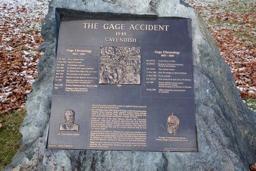 Stock Photo: 1809-15344 The Gage Accident plaque in Cavendish, Vermont USA  which is part of scenic New England. This plaque is for Phineas P Gage known as the  Man With a Metal Rod in His Head ...On September 13, 1848 while working for the railroad Phineas P Gage suffered massive brain damage when a 3 foot long tamping iron was blown through is head. The most interesting part of the story is he recovered from the injury, but was mentally never the same