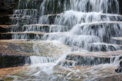 Stock Photo: 1809-15409 Fletcher Cascades during the spring months. Located on Drakes Brook in Waterville Valley, New Hampshire USA