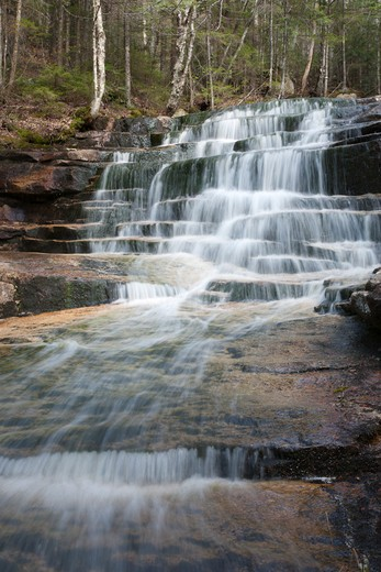 Stock Photo: 1809-15414 Fletcher Cascades during the spring months. Located on Drakes Brook in Waterville Valley, New Hampshire USA