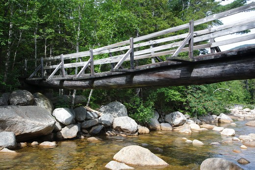 Stock Photo: 1809-16304 Pemigewasset Wilderness - Footbridge, which crosses the East Branch of the Pemigewasset River along the Thoreau Falls Trail at North Fork Junction in Lincoln, New Hampshire USA. This bridge is supported by two large white pines